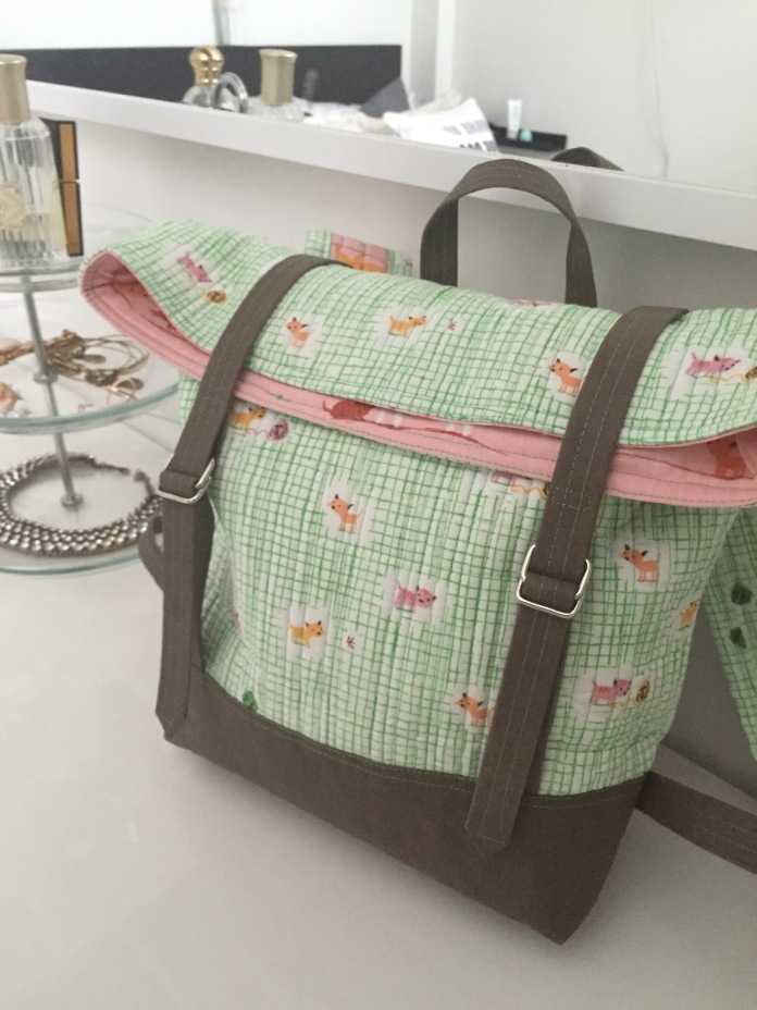 Domestic Strata Rucksack in Tiger Lily by Heather Ross