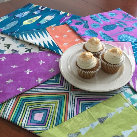 "Placemats by Erin Schlosser from her book ""Sew Home"" Fabric Sneak Peek from Carrie Bloodstone's upcoming collection ""Dreamer"""